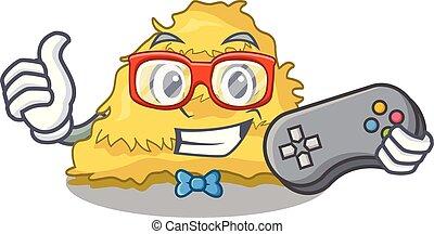 Gamer hay bale mascot cartoon vector illustration