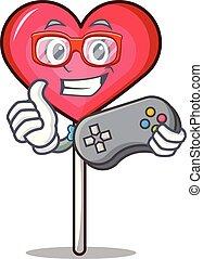 Gamer heart lollipop mascot cartoon