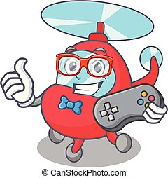 Gamer helicopter mascot cartoon style