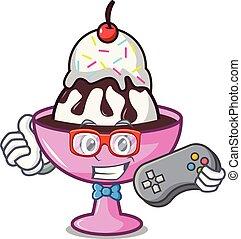 Gamer ice cream sundae mascot cartoon vector illustration