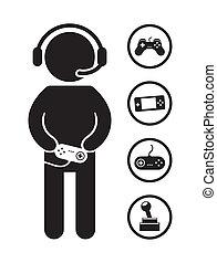 gamer icons over white background vector illustration