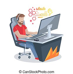 Gamer in Front of Computer Vector Illustration