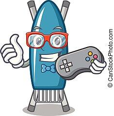Gamer iron board mascot cartoon vector illustration
