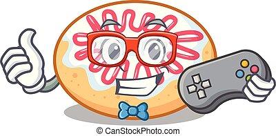 Gamer jelly donut mascot cartoon vector illustration