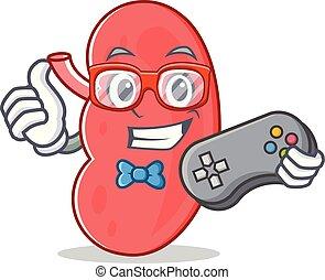 Gamer kidney mascot cartoon style