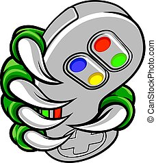 gamer, klaue, bereiter controller, video, hand, monster