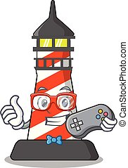 Gamer lighthouse on the beach mascot