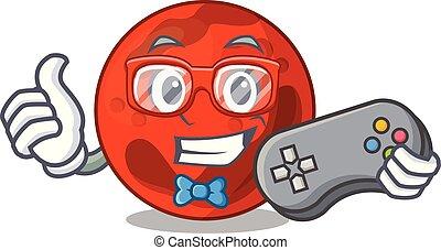 Gamer mars planet mascot cartoon