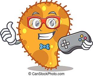 gamer, mascote, conceito, usando, controlador, desenho, pseudomonas