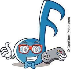 gamer, nota musica, carattere, cartone animato