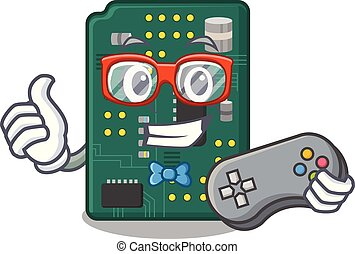 Gamer PCB circuit board in PC characters vector ilustration
