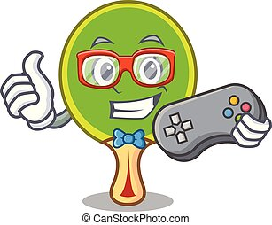 Gamer ping pong racket mascot cartoon