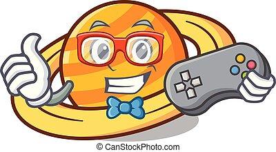 Gamer planet saturnus mascot cartoon