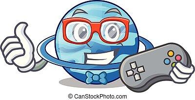 Gamer planet uranus in the cartoon form vector illustration