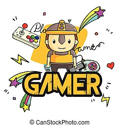 Gamer Player Background Vector Image