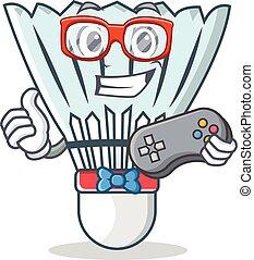 Gamer shuttlecock character cartoon vector art illustration