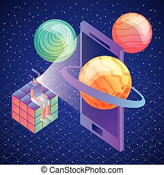 gamer sitting in rubik cube with vr glasses phone planets 3d