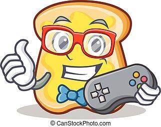 Gamer slice bread cartoon character vector art illustration