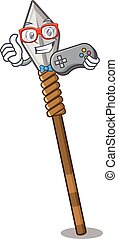 Gamer spear next to door of mascot