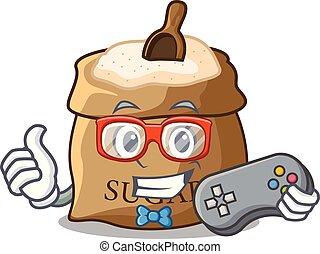 Gamer sugar that burlap sack on mascot