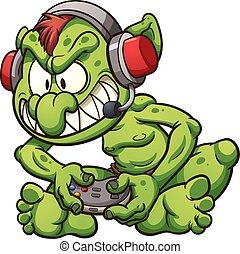 Gamer troll - Cartoon gamer troll playing video games....