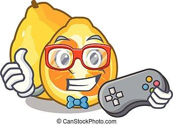 Gamer ugli fruit in the cartoon fridge vector illustration