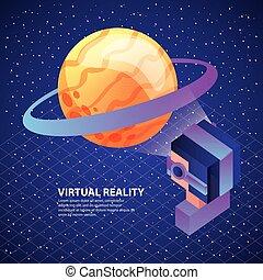 gamer using virtual reality glasses watching planet saturn
