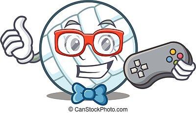 Gamer volley ball character cartoon vector illustration