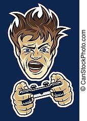 Gamer with a joystick. On dark background.