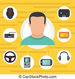 Gamer with game tools flat icons set vector illustration for design and web