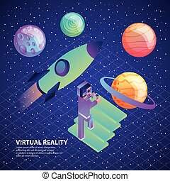 gamer with vr glasses and control climb stairs space rocket planets