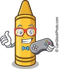 Gamer yellow crayon in the cartoon wallet