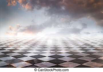 gamero, scacchi, pezzi, pavimento marmo