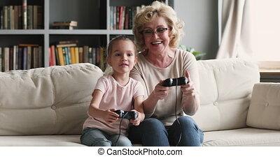gamers, générations, famille, jeu, rigolote, vidéo, deux, ...