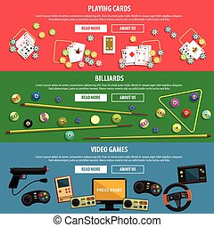 Games horizontal banners set with playing cards billiards and video flat isolated vector illustration