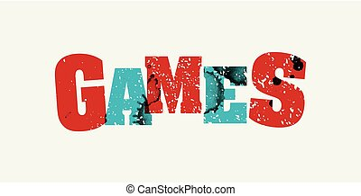 Games Concept Stamped Word Art Illustration