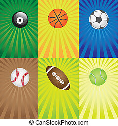 games., conjunto, deporte, pelotas