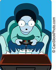 Games consuls rock! - Small boy sits amazed at ht equality...
