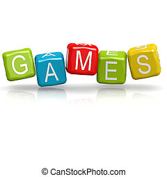 Games cube word image with hi-res rendered artwork that could be used for any graphic design.