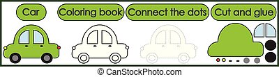 Games for children 3 in 1. Coloring book, connect the dots, cut and glue. Car cartoon. Vector illustration.