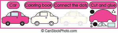 Games for children 3 in 1. Coloring book, connect the dots, cut and glue. Car cartoon. Vector illustration