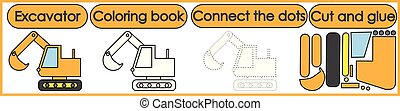 Games for children 3 in 1. Coloring book, connect the dots, cut and glue. Excavator cartoon. Vector illustration.
