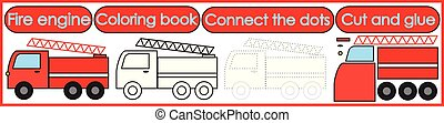Games for children 3 in 1. Coloring book, connect the dots, cut and glue. Fire engine cartoon. Vector illustration.