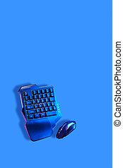 Games keyboard and mouse on blue background.