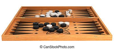 games:, madeira, gamão, com, lascas, e, dados