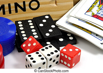 Games of Chance - Photo of Dominoes, Deck of Cards, Dice and...