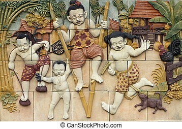 Games of Thailand culture on wall