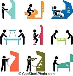 games., rappresentare, gioco, pictograms, persone