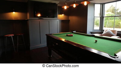 Personal perspective, walking into the games room in a house and panning around to show the full length pool table.