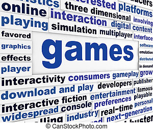 Games technological words poster. New technology creative...